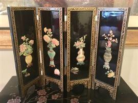 2. Miniature 4 Panel Black Lacquer Screen w/ Jade