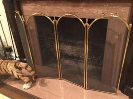 9. 4 Panel Brass Fireplace Screen (34'')