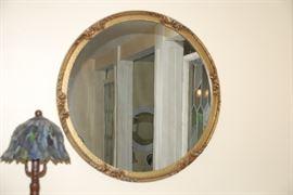 Vintage Round Mirror,; small nightlight lamp
