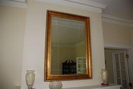 "Gold Framed beveled mirror-49.25"" x 35.25"""