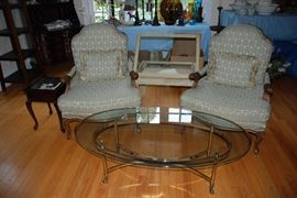 French Provential Chairs, Glass Coffee Table