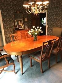 Savannah Beedermier tiger maple dining table with 2 leafs, 6 tiger maple side chairs, 2 Astoria armchairs. These pieces are in excellent condition