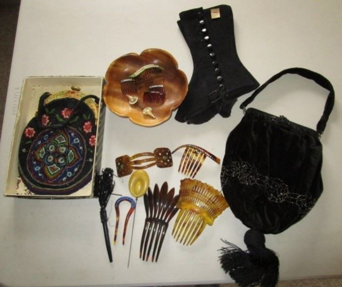 Antique beaded purse, antique hair pieces, etc