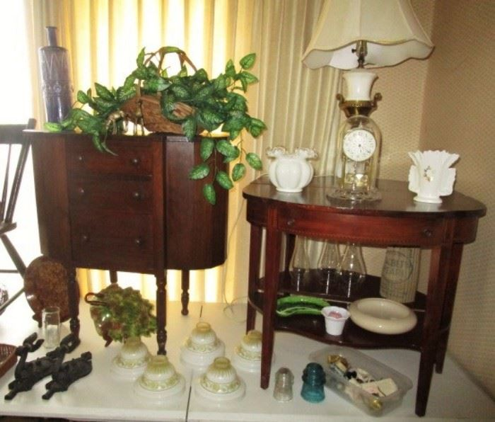 Vintage sewing stand, pair of side tables, antique lampshades, Fenton silver crest vase, cast iron candle holders, lamp, kerosene lamp globes, etc.