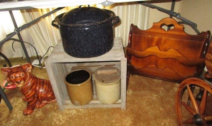 Stoneware crocks, enamel canner,ceramic tiger, magazine rack