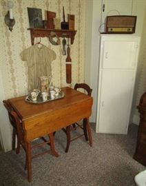 Drop leaf table, antique painted chimney cupboard