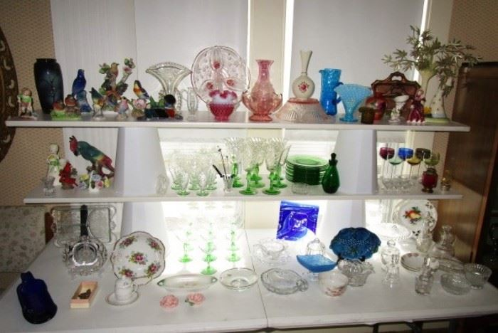 Collectible glassware, depression, pattern, Fenton, bird figurines, porcelain & ceramic items