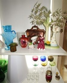 Collectible glass, porcelain figurines