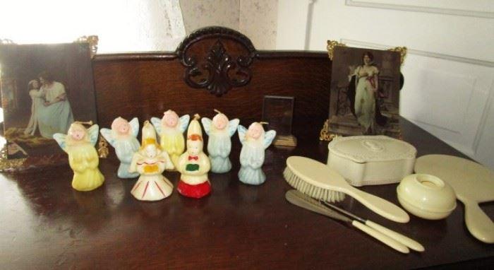Figural candles, celluloid dresser set items, 2 antique glass/metal pictures