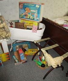 Vintage toys, luggage rack