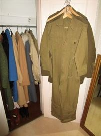 Army uniforms and vintage coats