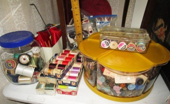 Sewing thread, vintage buttons, skirt marker