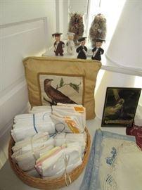 Vintage linens, graduation salt & pepper sets, wooden spools w/ thread