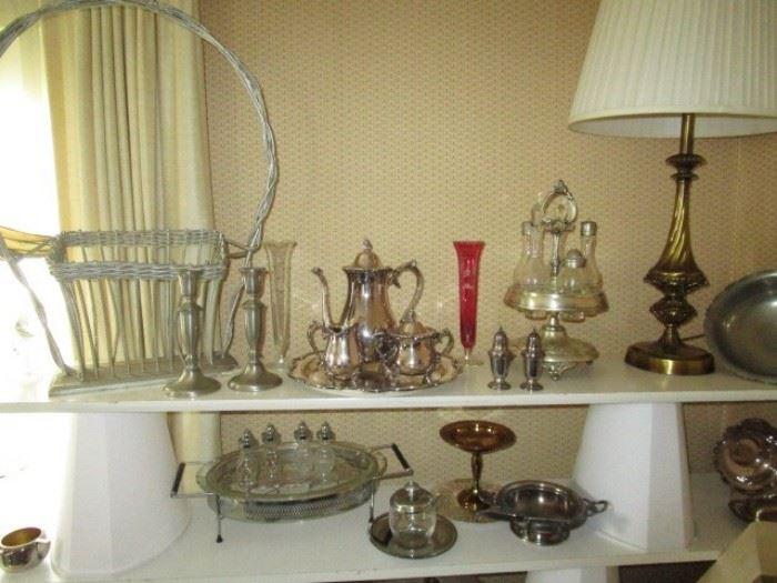Silver plate items, cruet set, woven funeral basket