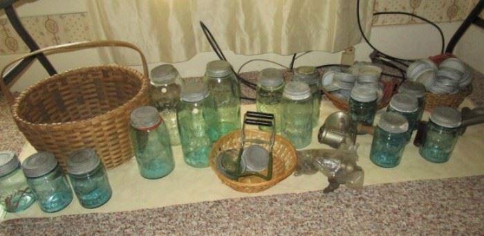 Antique aqua glass canning jars, kitchen colletibles