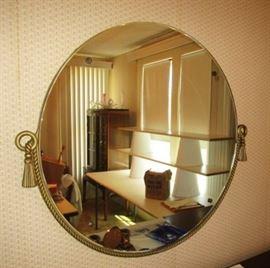 Vintage round metal framed mirror