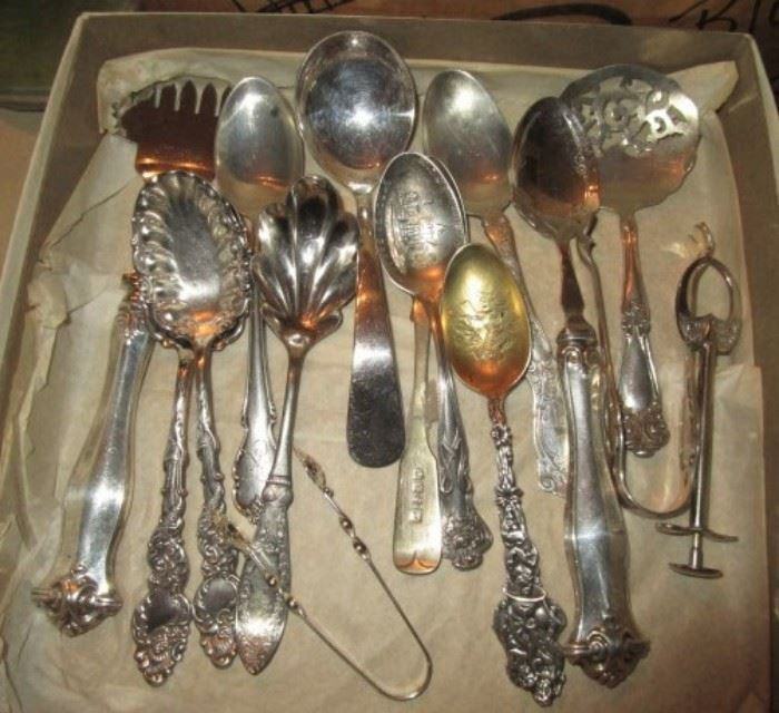 Sterling and silver plate spoons, serving pieces