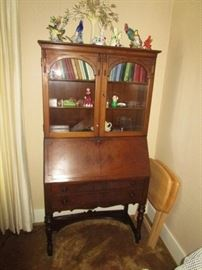 Drop front writing desk w/ display