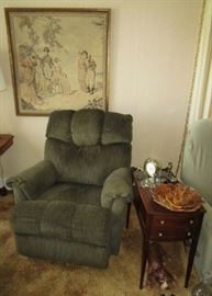 Recliner, vintage side table w/ glass top and drawers