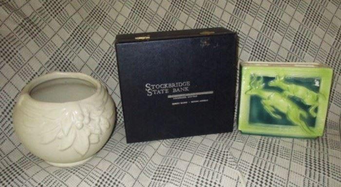 Art pottery planter, Stockbridge State Bank box, Deer pottery vase