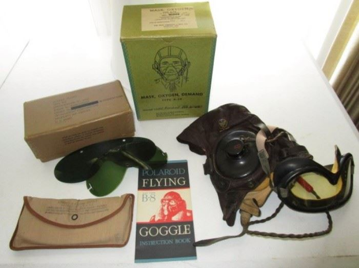 WWII Army Air Force soft leather helmet w/ speaker & goggles, oxygen mask in original box, goggle lenses