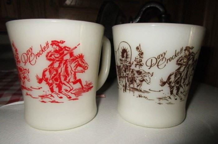 Fire King Davy Crockett mugs