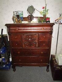 Antique chest off drawers, antique dresser mirror