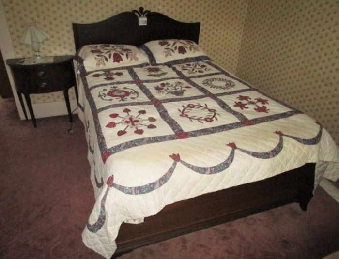 Antique full size bed and matching nightstand