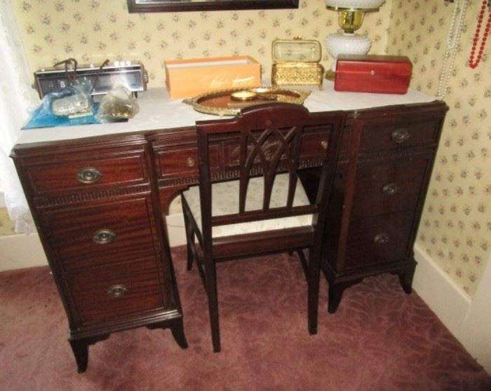 Antique desk matching bedroom set, jewelry boxes