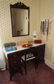 Antique desk and mirror, costume jewelry