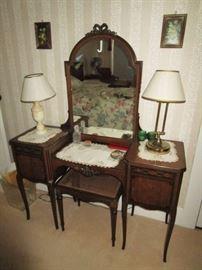 Antique vanity, lamps