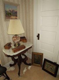 Antique marble top parlor table, antique hankie/tie wooden boxes, antique pictures