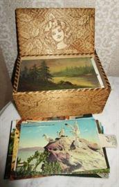 Antique post card box and antique/vintage postcards