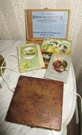 Wooden boxes, antique post cards