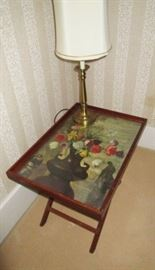Vintage folding table w/ print, lamp