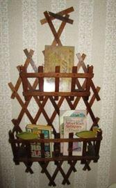 Antique wooden wall book shelf