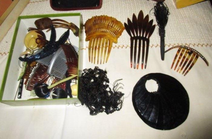 Antique hair combs/pieces