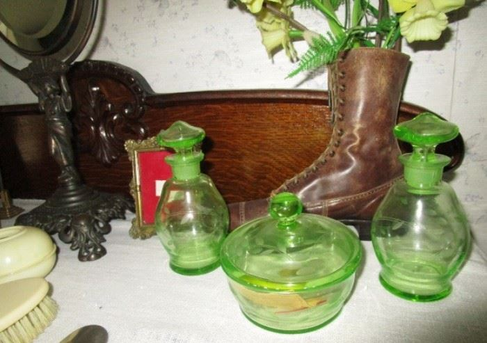 Vaseline glass dresser set, antique shoe