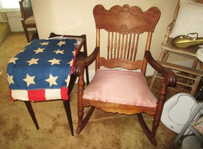Antique rocking chair, carved back, 48 star flag