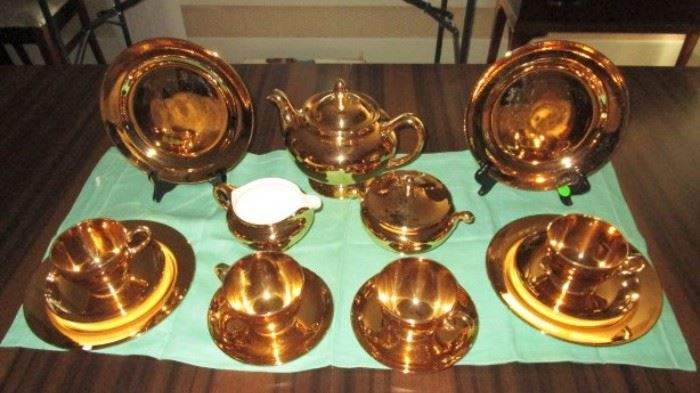 Antique Eggshell Nautilus gold plated lunch set including 4 plates, 4 cups & saucers, teapot, sugar & creamer (chip on one plate)