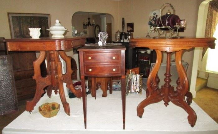 Late 1800's parlor tables, vintage 2 drawer end table