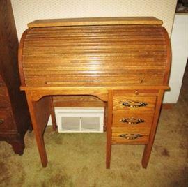 Antique child's roll top desk