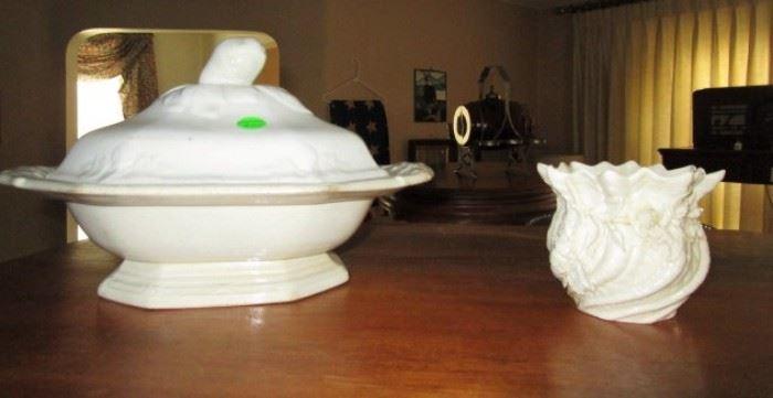 Vintage stoeware covered bowl, Belleek vase