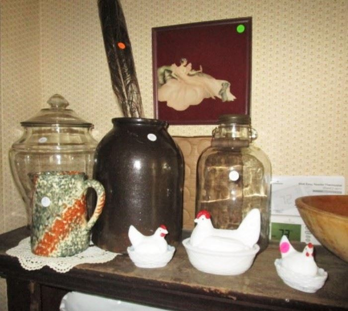 Antique, Vintage glass jars, stoneware and hen on nests