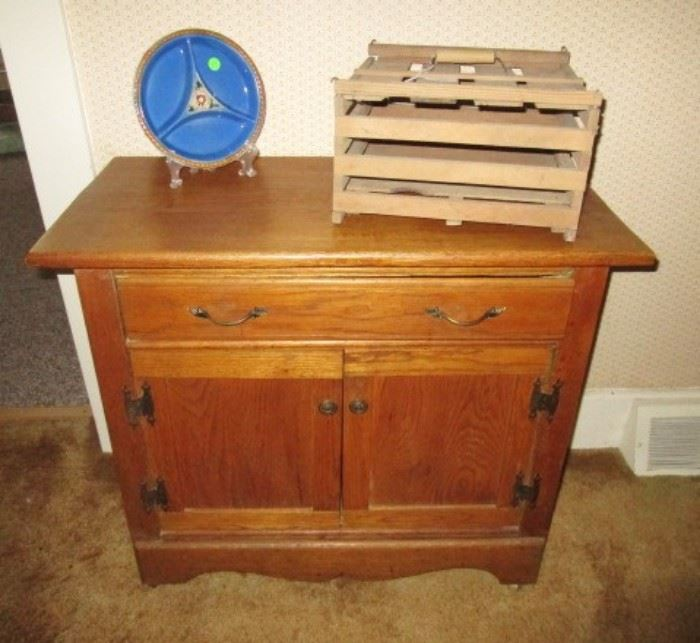 Antique  commode, vintage handled egg box