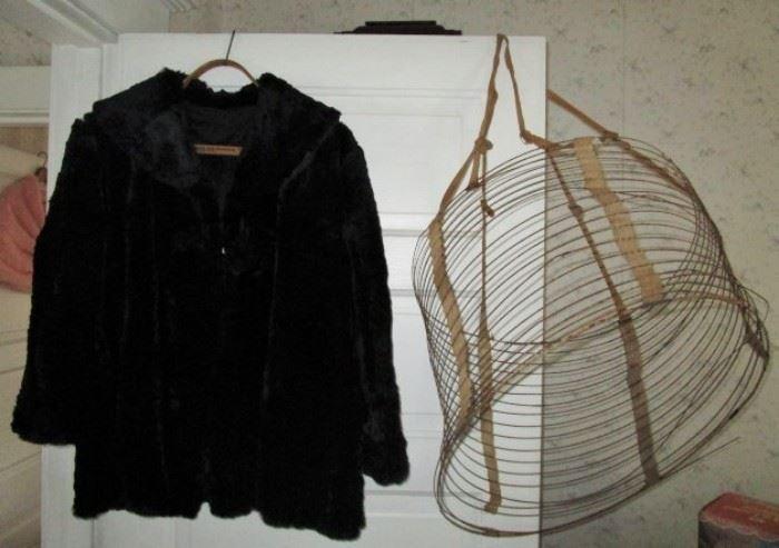 Vintage black fur jacket, 1800's wire collapsible hoop  for skirts.