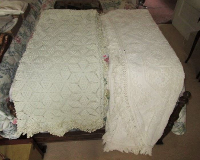 Vintage full size hand crocheted bed cover, full size Chenille spread.