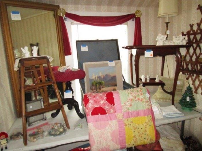 Vintage mirror, step stool, trunk/box, quilt, vintage parlor table, lamp, unique wall book/magazine shelf.