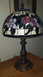One of 10 stained glass lamp shades.