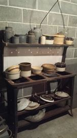 Gray & white enamelware, crocks, jugs, yellowware